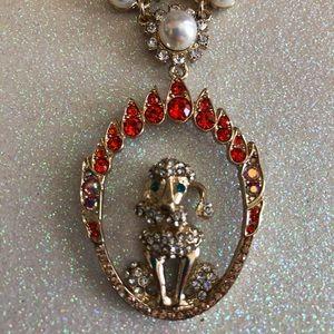 Betsey Johnson Firey Hoop Poodle Necklace